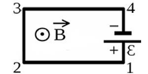 Электрическая цепь, состоящая из четырёх прямолинейных горизонтальных проводников и источника постоянного тока, находится в однородном магнитном поле, вектор магнитной индукции которого Bнаправлен вертикально вниз. Куда направлена вызванная этим полем сила Ампера, действующая на проводник 3-4