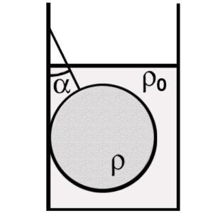 Свинцовый шар массой 4 кг подвешен на нити и полностью погружён в воду. Нить образует с вертикалью угол a=30°. Определите силу, с которой нить действует на шар