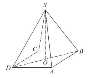 В правильной четырехугольной пирамиде SABCD точка O — центр основания, S — вершина, SD=10, SO=6. Найдите длину отрезка AC