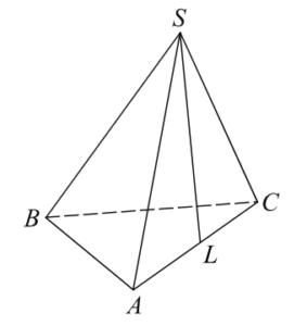 В правильной треугольной пирамидеSABCточкаL— середина ребраAC,S— вершина. Известно, чтоBC=6, аSL=5. Найдите площадь боковой поверхности пирамиды